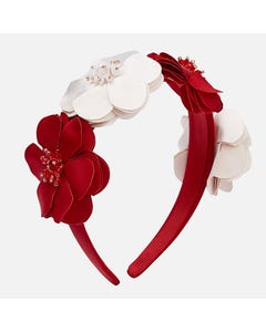 Mayoral HEADBAND HARD RED & BEIGE FLOWER BEADED CENTRE Sizes 4 | 10712 RED