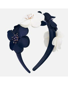 Mayoral HEADBAND HARD NAVY & WHITE FLOWERS BEADED CENTRE Sizes 4 | 10712 NAVY