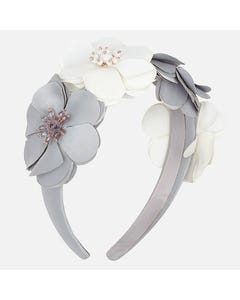 Mayoral HEADBAND HARD GREY AND WHITE FLOWER TRIM BEADED CENTRE Sizes 4 | 10712 GREY