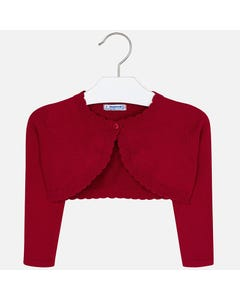Mayoral BOLERO CARDIGAN RED SCALLOPED EDGE 1BUTTON Sizes 2-9 | 314 RED
