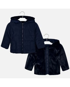 Mayoral JACKET NAVY FUR REVERSIBLE HOODED Sizes 2-9 | 4422 NAVY