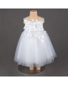 DRESS WHITE FLOWER AND LEAVES APPLICAY TULLE SLEEVELESS
