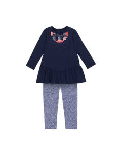 2PC.TUNIC & LEGGING NAVY DOT PRINT.LEGGING MULTI EMBROIDERY