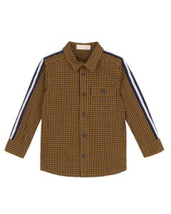 SHIRT MUSTARD PRINT WITH SIDE BANDS