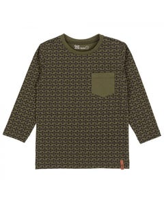 TSHIRT GREEN WITH WRENCH PRINT LONG SLEEVE WITH POCKET