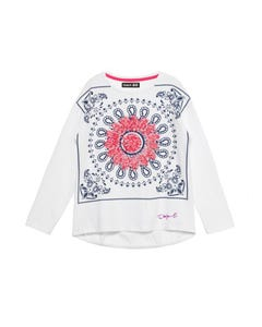 T SHIRT CONGRES WHITE NAVY PRINT FLOWER APPLIQUE LONG SLEEVE