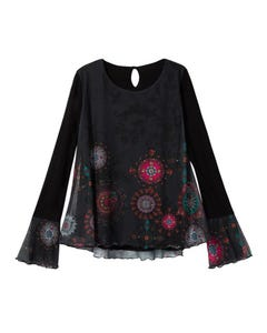 T SHIRT BRULE BLACK MULTI FLOWER  PRINT MESH LONG SLEEVE