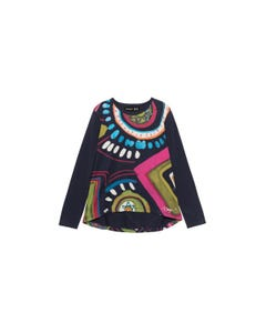 TOP NAVY MULTI COLORED PRINT LONG SLEEVE