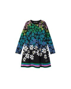 DRESS BLACK MULTI COLORED FLOWER PRINT FRONT  LONG SLEEVES