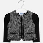 KNIT JACKET BLACK & WHITE 1 BUTTON CLOSURE BLACK SLEEVES