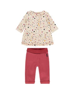 Noppies Girls 2Pc Dress And Pant Set Size 1m-18m | 94665 94675 Beige