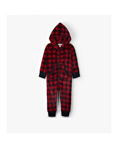 JUMPSUIT HOODED RED PLAID FLEECE KIDS