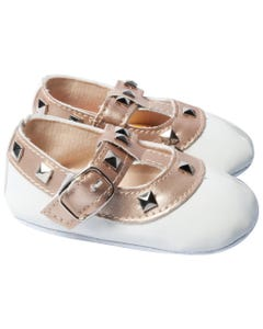 BABY SHOE WHITE PATENT ROCKSTUD GOLD TRIM BUCKLE CLOSURE