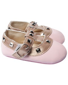 BABY SHOE PINK PATENT ROCKSTUD GOLD TRIM BUCKLE CLOSURE