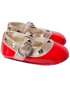 BABY SHOE RED PATENT ROCKSTUD GOLD TRIM BUCKLE CLOSURE