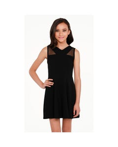 DRESS BLACK SHANNON SLEEVELESS MESH BODICE TRIM