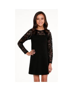 DRESS BLACK LACE LONG SLEEVES ALEXIS