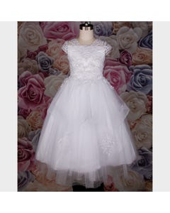 GOWN WHITE EMBROIDERED BODICE HORSEHAIR TULLE LAYERS PEARL TRIM