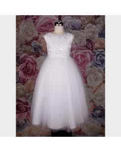 GOWN WHITE EMBROIDERED BODICE PEARLS SEQUINS BUGLE BEADS TULLE