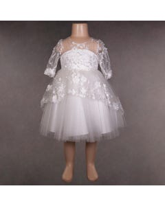 DRESS  IVORY HIGH LOW EMBROIDERY & FLOWER APPLIQUE LONG SLEEVE BACK BOW