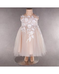 DRESS CHAMPAGNE WHITE FLOWER & LEAVES APPLIQUE TULLE