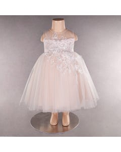 DRESS PETAL EMBROIDERED TULLE LAYER WITH PEARLS & SEQUINS