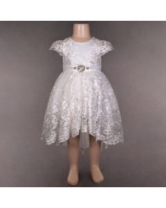 DRESS IVORY HIGH LOW EMBROIDERED  ALL OVER SILVER THREAD RSTONE BELT TRIM