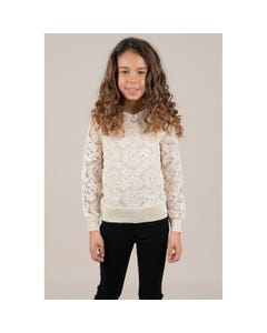 SWEATER ECRU LACE SLEEVES & BODICE KNIT COLLAR & CUFFS