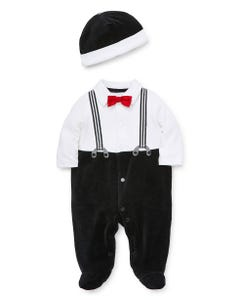 2 PC SLEEPER & HAT BLACK & WHITE RED BOWTIE IMITATION SUSPENDERS