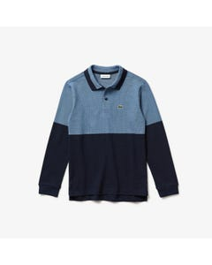 POLO TOP NAVY & BLUE LONG SLEEVE RIBBED COLLAR