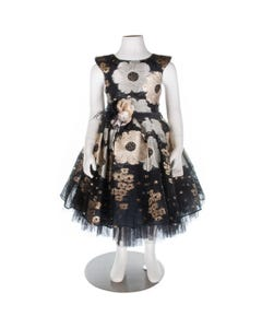 2 PC DRESS & HAIRCLIP BLACK GOLD & SILVER FLOWER PRINT FLOWER BROACH