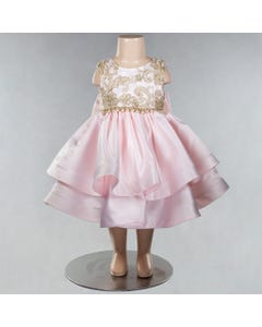 DRESS PINK SATIN GOLD EMBROIDERY PEARL BELT