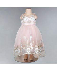 DRESS BLUSH & GOLD WHITE APPLIQUE FLOWERS HI LOW