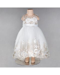 DRESS IVORY & GOLD WHITE APPLIQUE FLOWER HI LOW