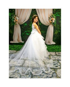 GOWN OFF WHITE EMBROIDERED TULLELAYERS IN HAIR TRIM