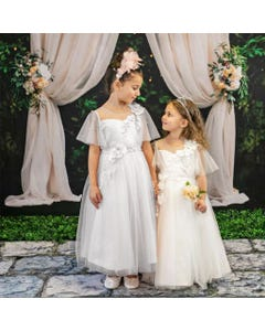 GOWN IVORY TULLE CAP SLEEVE FLOWER APPLIQUE PEARL TRIM