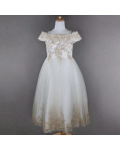 GOWN IVORY GOLD LACE TRIM DIAMOND CUT BACK & BOW