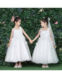 GOWN IVORYTULLE FLOWER APPLIQUE BODICE AND SKIRT