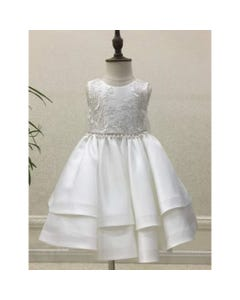 GOWN OFFWHITE SILVER BODICE EMBROIDERY 2 LAYER SKIRT PEARL & RSTONE TRIM