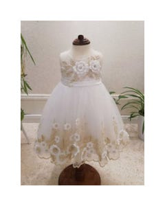 GOWN IVORY GOLD EMBROIDERED WHITE FLOWER APPLIQUE HI LOW