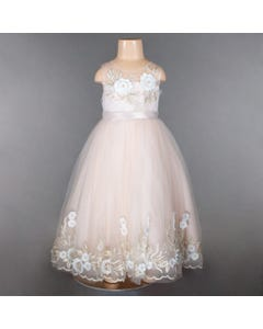 GOWN PETAL GOLD EMBROIDERY & WHITE FLOWER APPLIQUE HI LOW