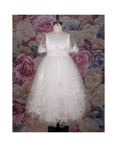 GOWN OFF WHITE EMBROIDERED FLOWERS& ORGANZA LEAVES APPLIQUE