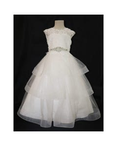 GOWN OFFWHITE LEAF LACE BODICE JEWELLED BELT H HAIR TRIM