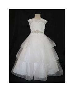 GOWN WHITE LEAF LACE BODICE JEWELLED BELT H HAIR TRIM