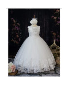 GOWN OFF WHITE PEARL BASKET LACE BODICE