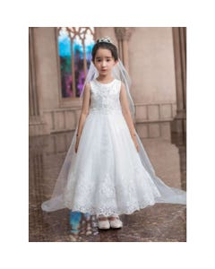 GOWN WHITE PEARL BASKET LACE BODICE TRIM