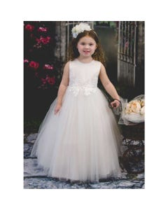 DRESS OFFWHITE EMBROIDERY & LACE APPLIQUE TULLE SKIRT