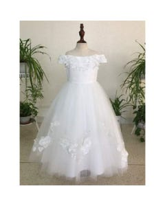 DRESS OFFWHITE LACE BODICE TAIL SATIN FLOWER & PEARL APPLIQUE TULLE