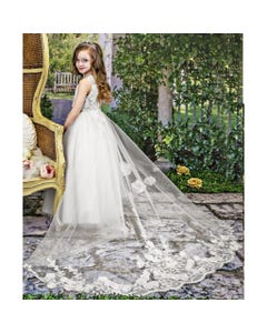 DRESS OFFWHITE REMOVABLE TAIL SEQUIN&RSTONES&FLOWER APPLIQUE