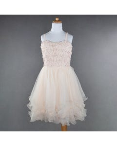 DRESS PINK RUCHED HEM PEARLS&RSTONES&SEQUIN BODICE